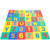 Wonder Mat Non-Toxic Non-Recycled Alphabet Letters & Counting Numbers Soft Foam Learning Waterproof Playmats