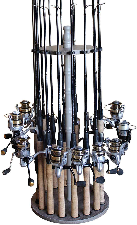 Rush Creek Creations Round 16 Fishing Rod Rack - Fishing Pole Holder and Storage, Barn Wood: Sports & Outdoors