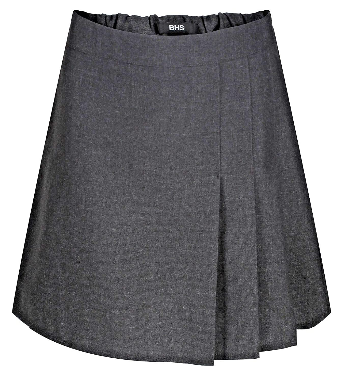Ages 4-12 BHS Girls School Skirt Adjustable Waist Black Grey Pleated