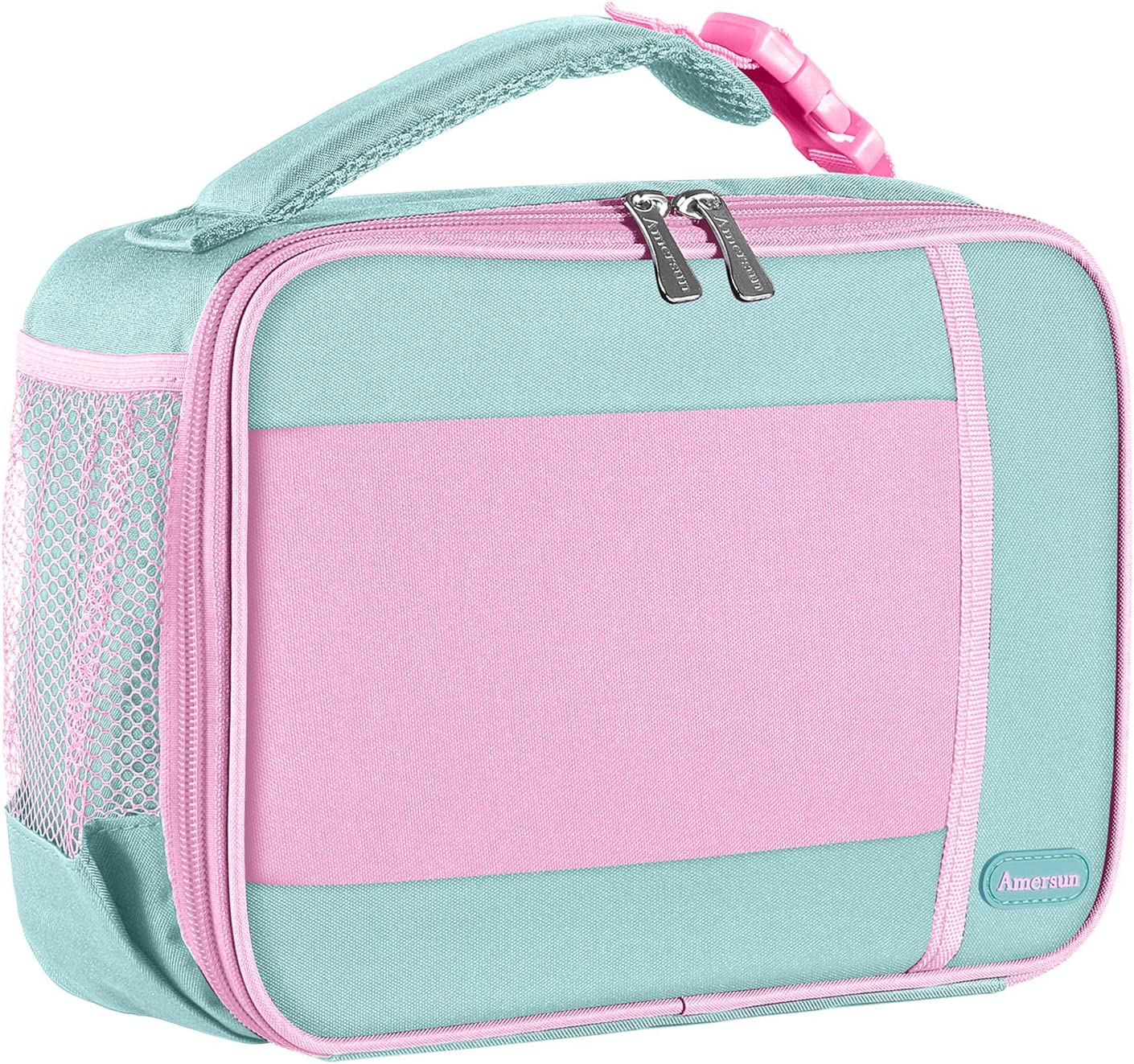 Kids Lunch Box with Supper Padded Inner Keep Food Cold Warm for Longer Time,Amersun Leak-proof Solid Insulated School Lunch Bag with Multi-Pocket for Teen Boys Girls,CPC Certified,Light Blue+Pink