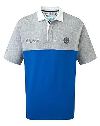 f396591f07c Cotton Traders Mens Short Sleeve Classic Rugby Shirt Scotland XL Blue