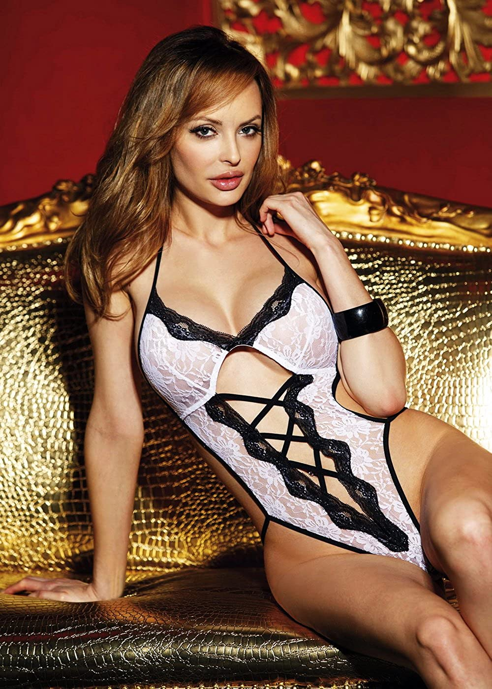 Amazon.com: Shirley of Hollywood Corset Lace Thong Teddy, One Size ...
