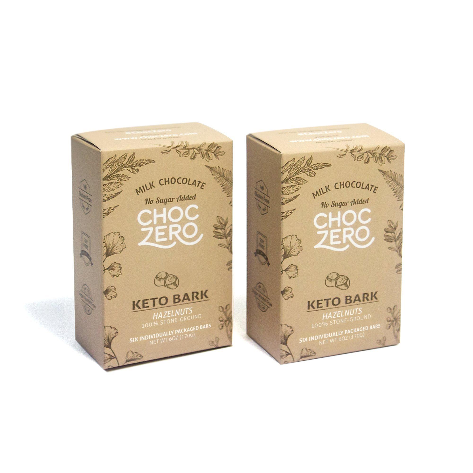 ChocZero Keto Bark, Milk Chocolate Hazelnuts, 100% Stone-Ground, No Added Sugar, Low Carb, No Sugar Alcohols, Non-GMO (2 boxes, 6 bars/each)