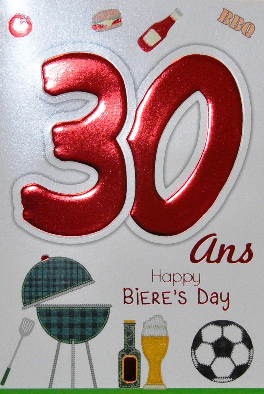 Age Mv 69 2028 Carte Anniversaire 30 Ans Homme Motif Biere Foot Ballon Barbecue Bbq Hamburger Fete Amis Amazon Fr Fournitures De Bureau