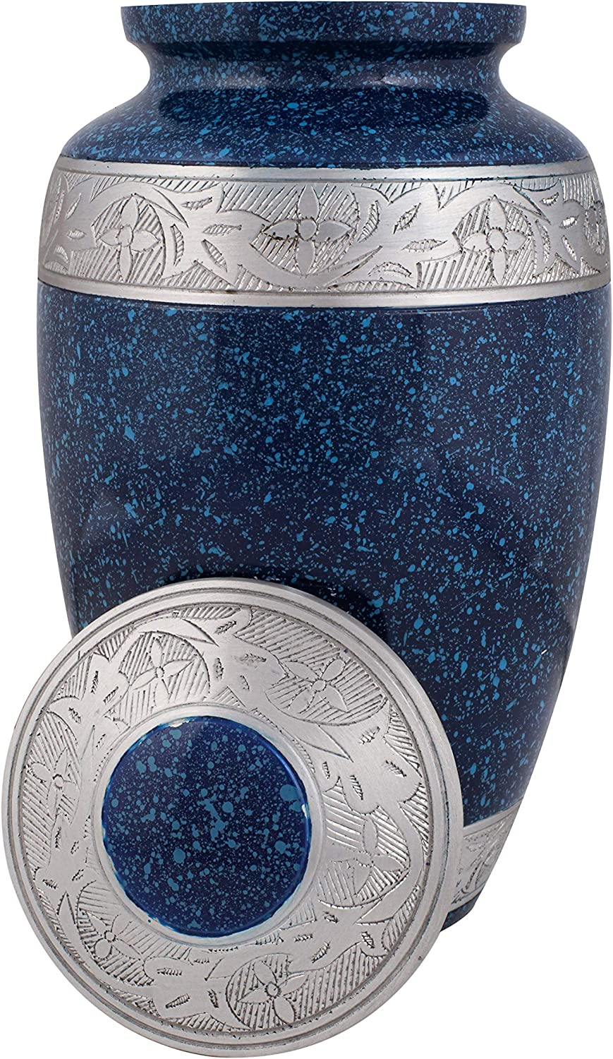 Pewter Large Urn for Human Ashes - A Beautiful and Humble Urn for Your Loved Ones Remains with Engraved. This Lovely - Urn Will Bring You Comfort Each Time You See It, Size 10x6.75 inch-Blue Patina
