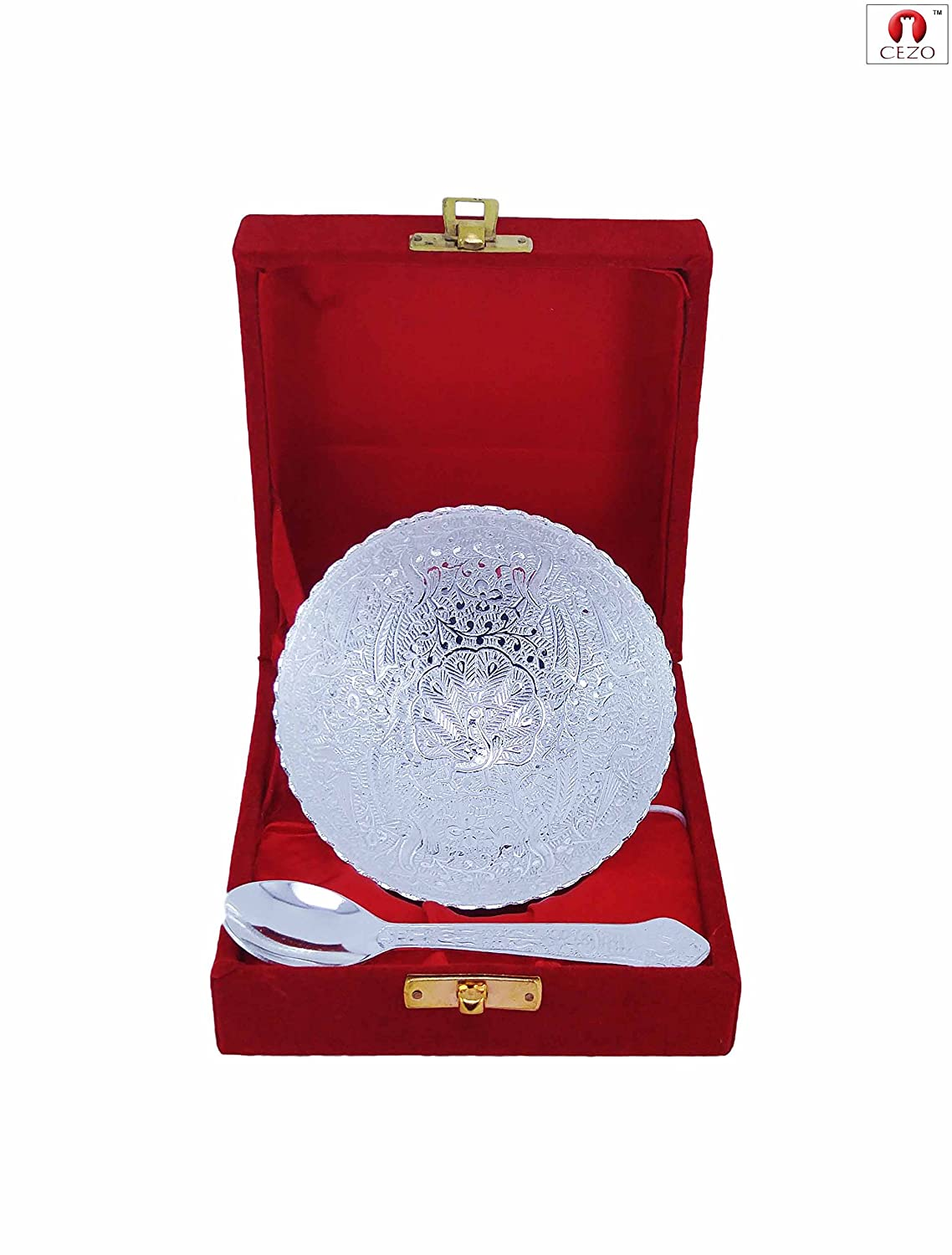 CEZO Decorative German Silver Round Handcrafted Silver Bowl and Spoon Set With Intricate Carvings (Leaf Shape)