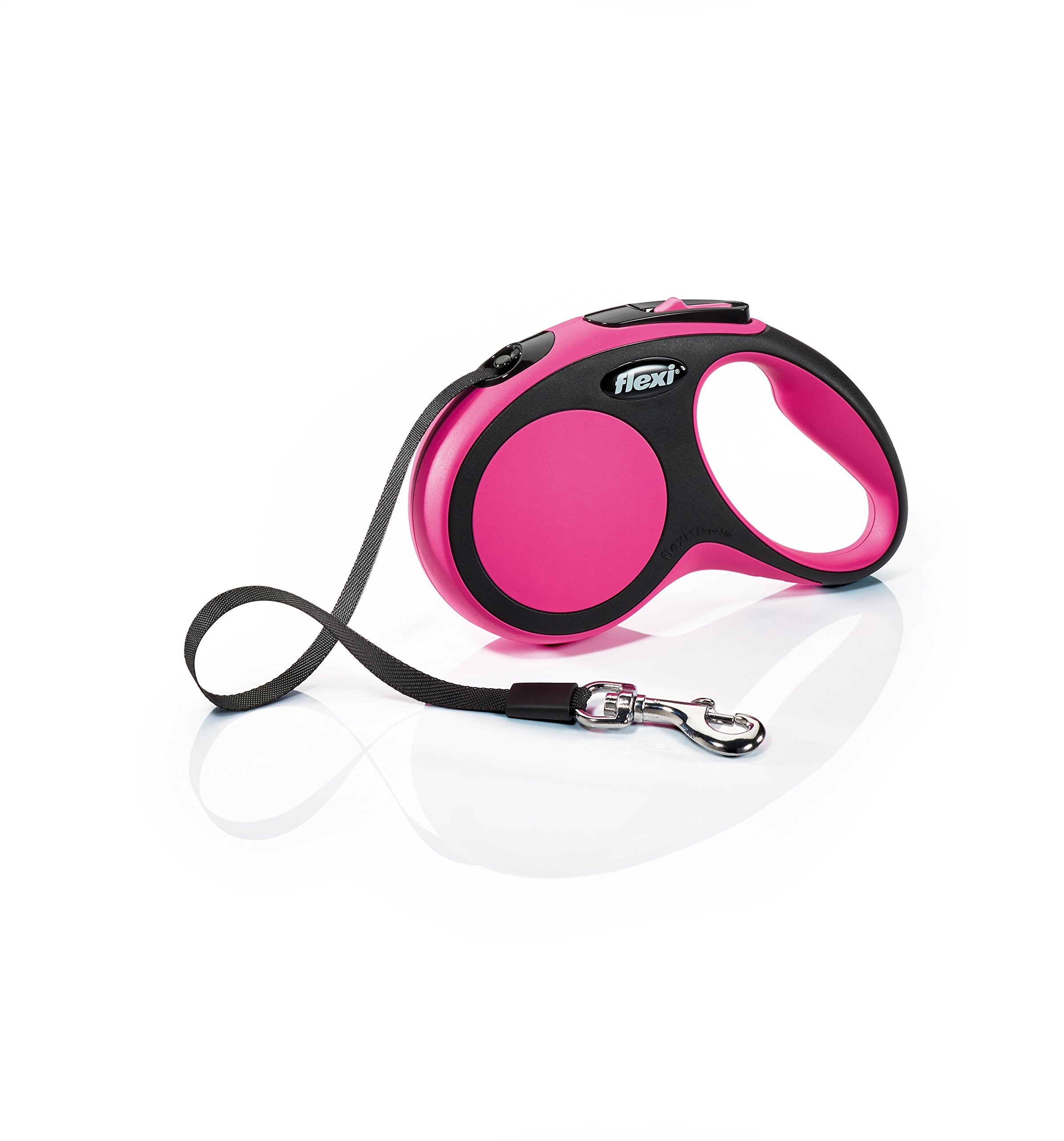 Flexi New Comfort Retractable Dog Leash (Tape), 16 ft, Small, Pink by Flexi