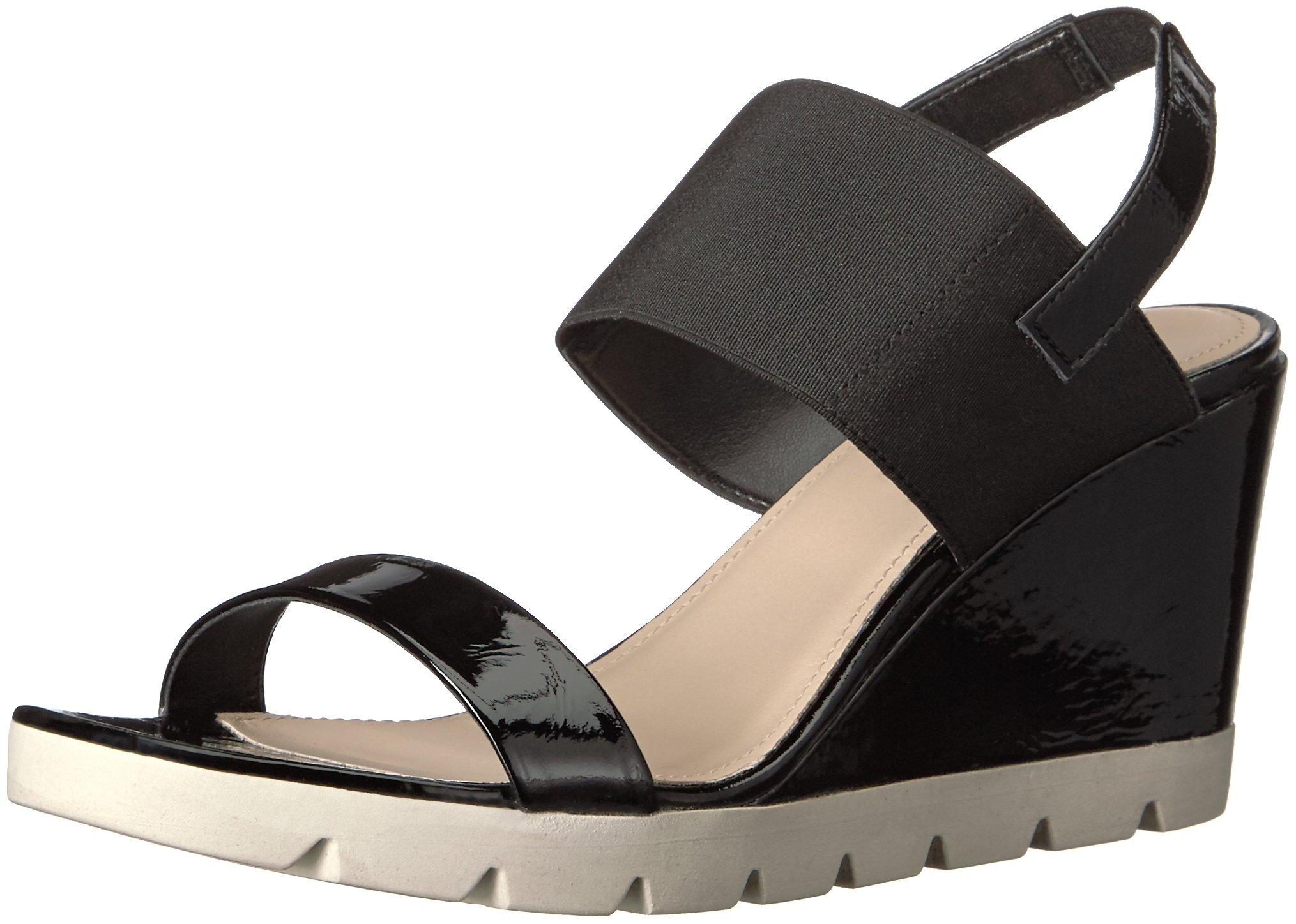 The FLEXX Women's Give a Lot Wedge Sandal, Black Cotton, 6 M US