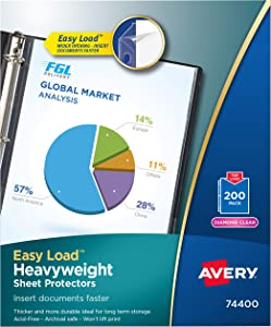 "Avery Heavyweight Diamond Clear Sheet Protectors, 8.5"" x 11"", Acid-Free, Archival Safe, Easy Load, 200ct (74400)"