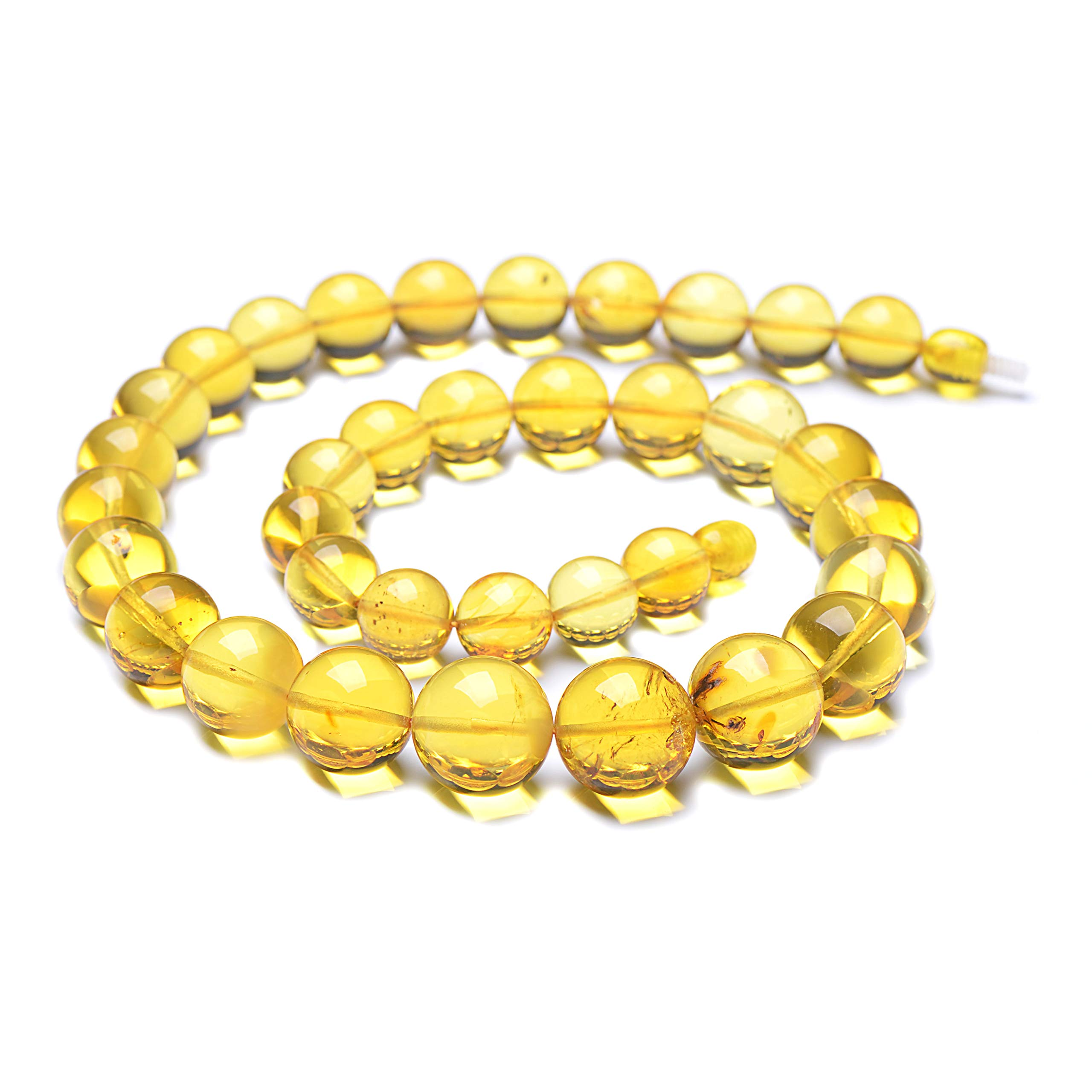 Round Bead Necklace - Lemon Baltic Amber Necklace - Unique Women Necklace - Round Shape Bead Necklace by Genuine Amber
