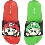 Super Mario Nintendo Sandals, Mario and Luigi Mismatch Slide Sandal,Boys Sizes 12 to 4