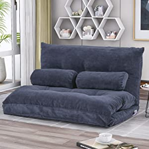 Fold Down Sofa Bed Floor Couch Adjustable Folding Modern Futon Chaise Video Gaming Lounge Convertible Upholstered Memory Foam Padded Cushion Guest Sleeper Chair with Two Pillows