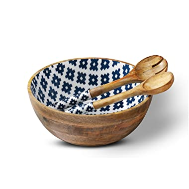 Wooden Salad Bowl Colorful Serving Bowls with 2 Servers, Mango Wood Large Mixing Container Set with Tongs for Fruits, Pasta, Cereal and Vegetable - 12  Diameter x 5  Height, Geometric Design