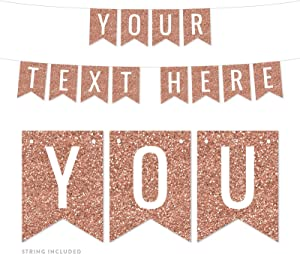 Andaz Press Fully Personalized Rose Gold Faux Glitter Background Party Banner Decorations, Your Text Here, Approx 5-Feet, 1-Set, Wedding Champagne Colored Hanging Pennant Decor, Custom Name