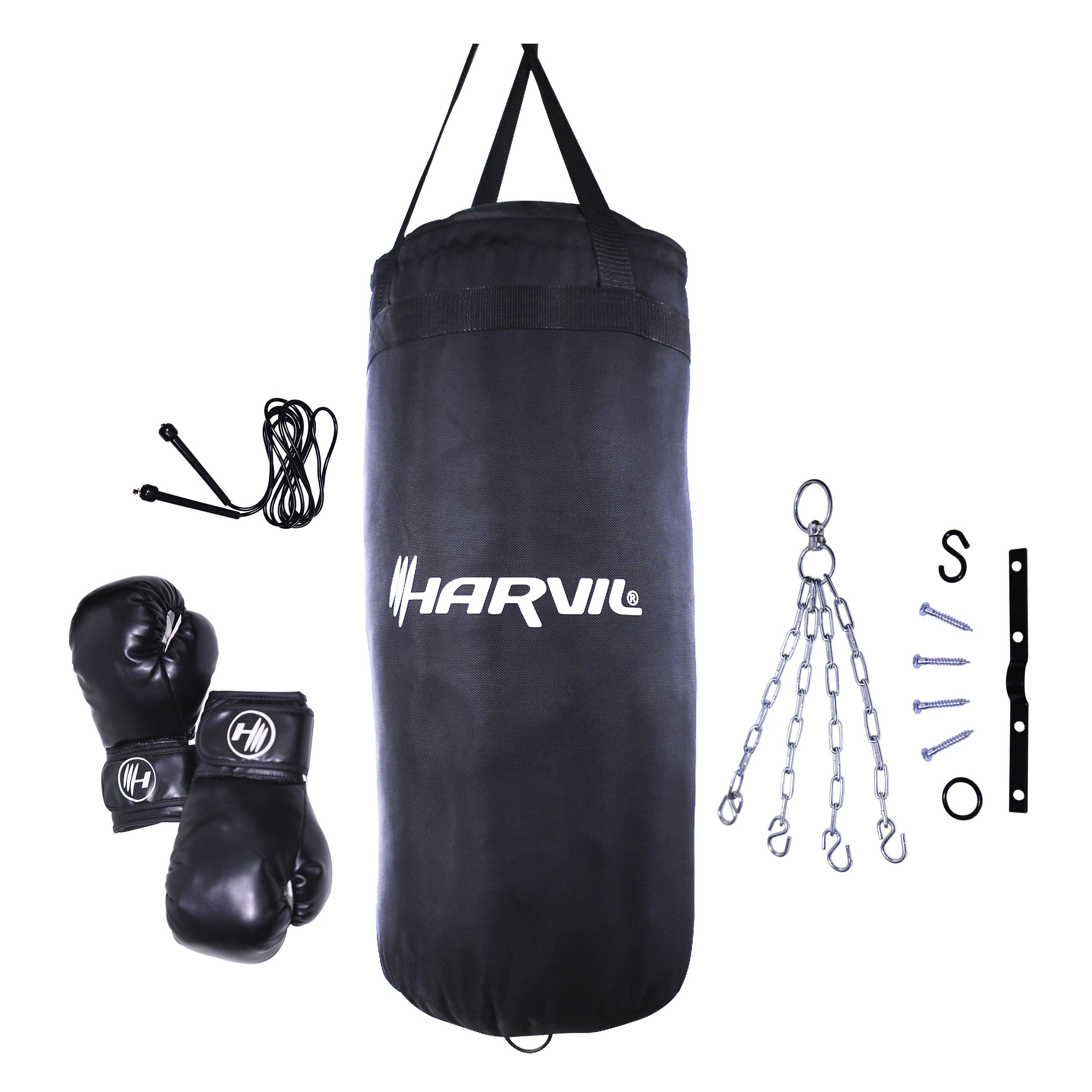 Harvil Kids Boxing Set with 25-Pound Punching Bag, Boxing Gloves, Jumping Rope, Ceiling Attachment and Hanging Chain