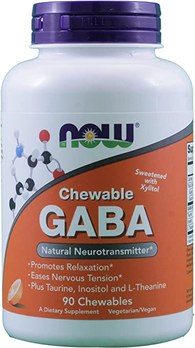 GABA 250mg Orange Flavor 90 Chewable Tablets (Pack of 2)