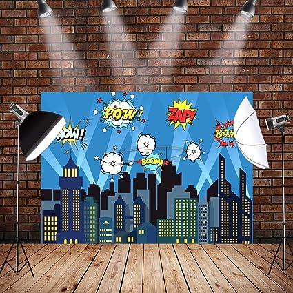 AerWo 7 x 5 Ft City Fotografía Telón de poliéster Superhéroe Foco Brillante Estrellas Noche Ciudad Fotografía Fondo para Niños Cumpleaños Fiesta ...
