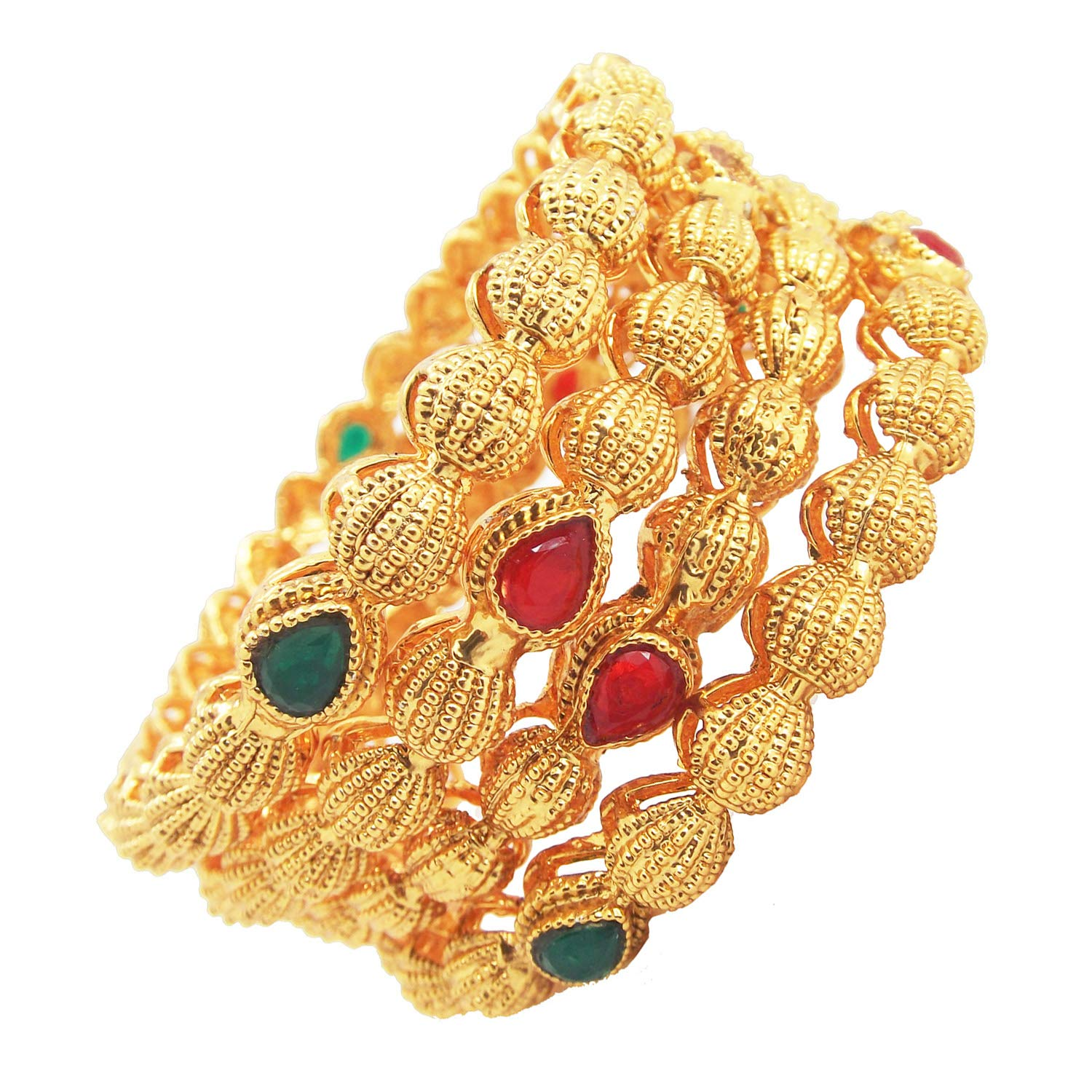 9blings Festive Collection Ruby Green Gold Plated 4pc Bangles for Womens Girls