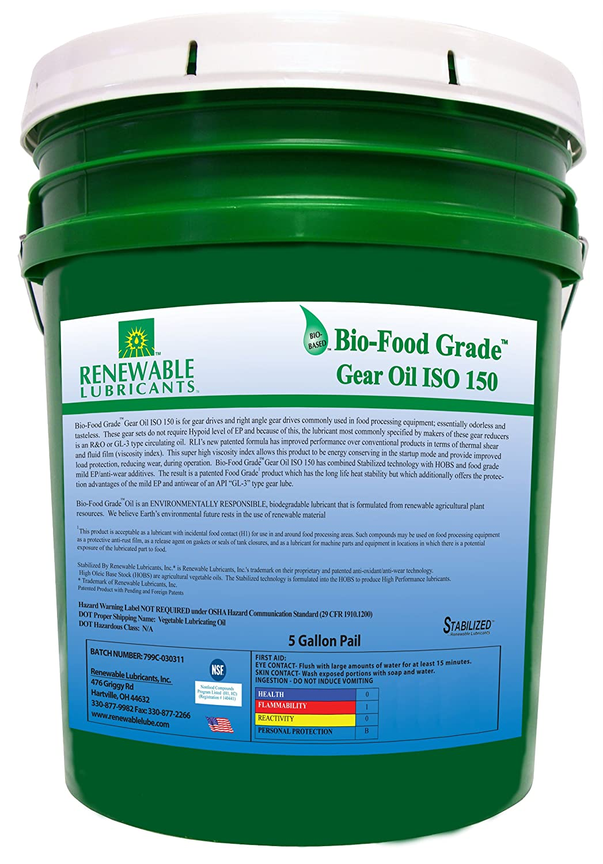 Renewable Lubricants Bio-Food Grade ISO 150 Gear Oil, 5 Gallon Pail