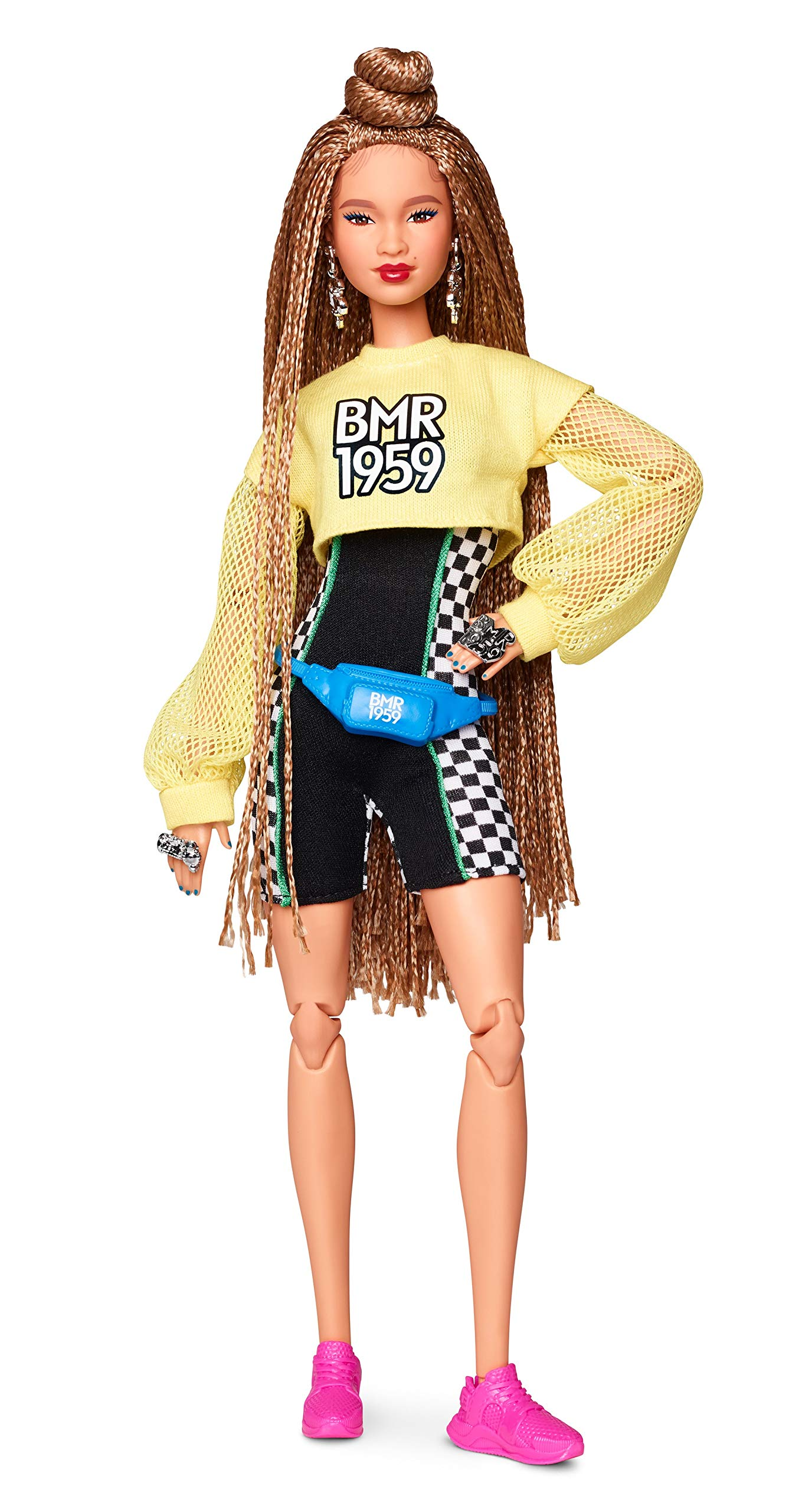 Barbie GHT91 BMR1959 Fully Poseable Fashion Doll with Braided Hair, Wearing Bike Shorts Romper and Cropped Sweatshirt with Accessories and Doll Stand