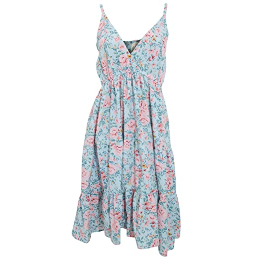 cca1926124e0 Womens Ladies Pastel Rose Print Strappy Summer Dress (Small) (Blue)