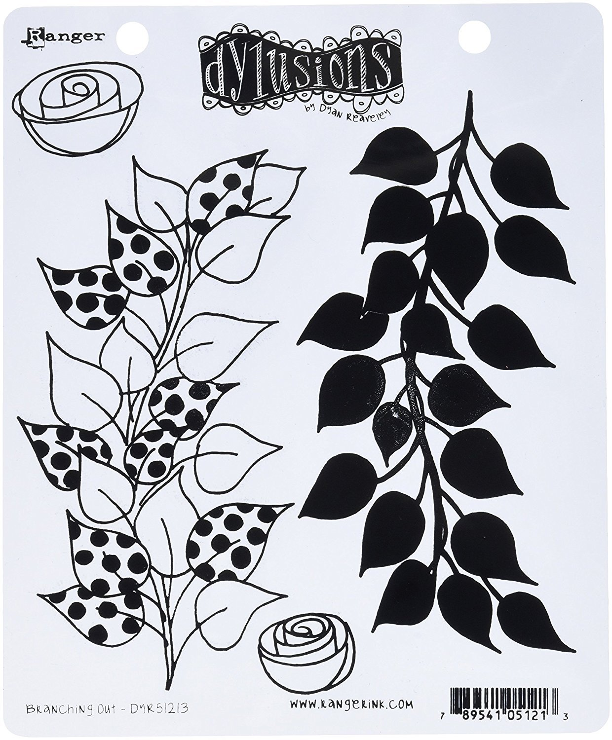 Dylusions Stamps Unmounted Rubber Stamps Branching Out (3 Pack)