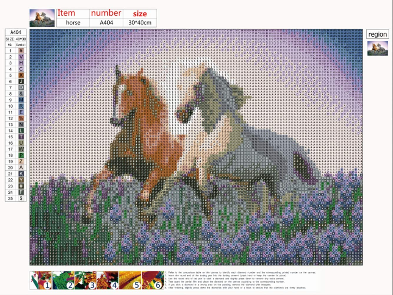 DIY 5D Diamond Painting by Number Kit,2 Horses 5d Diamond Art Rhinestone Embroidery Cross Stitch Kits Supply Arts Craft Canvas Wall Decor Stickers 16x12 inches