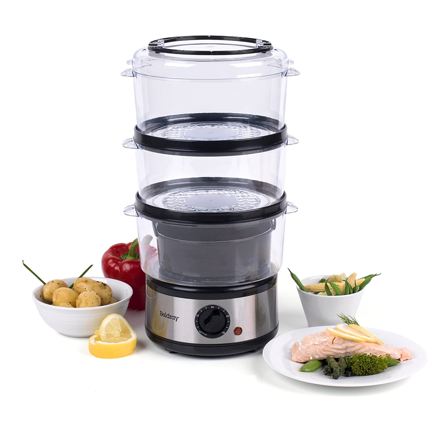 6 Litre New Quest 3 Layer Stainless Steel Compact Food Steamer with Rice Bowl