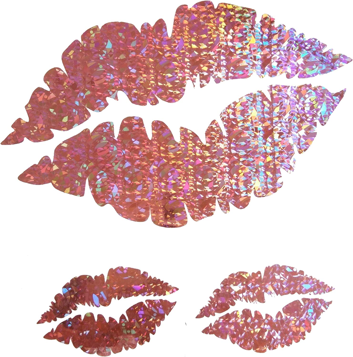 CUSHYSTORE Pink Sweet Lips Sexy Kisses Holographic Hologram Decals Vinyl Sticker for Laptop Fridge Tumbler 3 Packs
