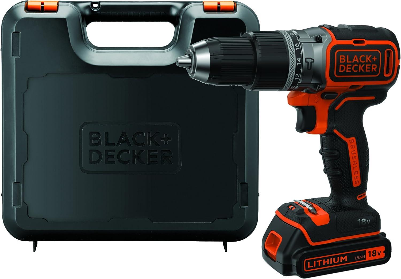 BLACK+DECKER BL188K-QW - Taladro percutor motor brushless 18V, incluye bateria de litio (1.5Ah) y maletin