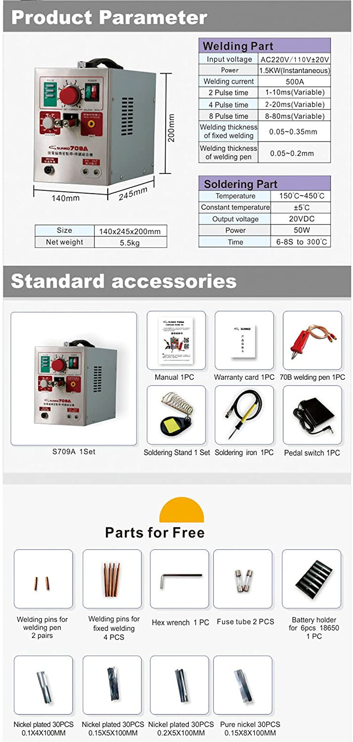 Battery Spot Welder Knokoo 709a Sunkko 2 In 1 19kw Led Welding Equipment Uk Saf Two Roll Wire Drive System Spares Parts Pulse Machine For 18650 16430 14500 Pack Amazonco