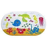 Tapis de bain at enfant antidérapant Océan Salinka - SANS phtalates, SANS plomb - Fabriqué en PVC anti-moisissures durable et résistant - Doté de ventouses pour assurer une forte adhérence