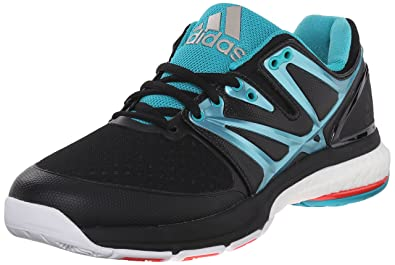 size 40 254ea 7565b adidas Women s Stabil Boost Volleyball Shoe, Core Black Sock Green White,  5.5
