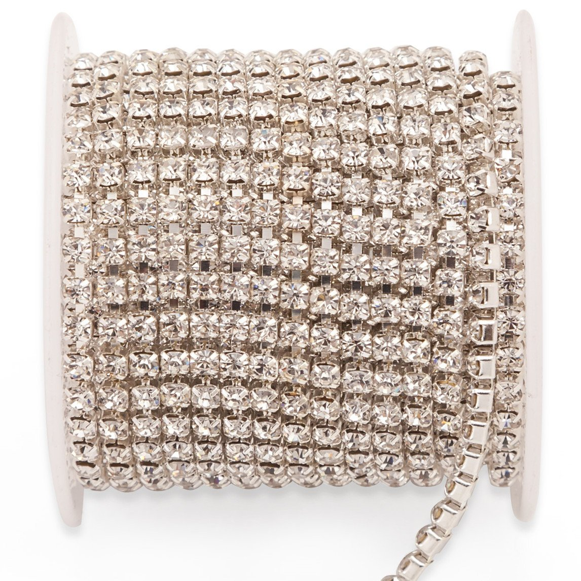 20Yards Crystal Rhinestone Chain, Rhinestone Ribbon Roll for Shoes Jewellery Clothing Crafts, Bridal Bouquet Embellishments, Wedding Dress, Phone Case, Party DIY Decorations 2 Rolls (Colorful Silver) Shallylu 4337027836