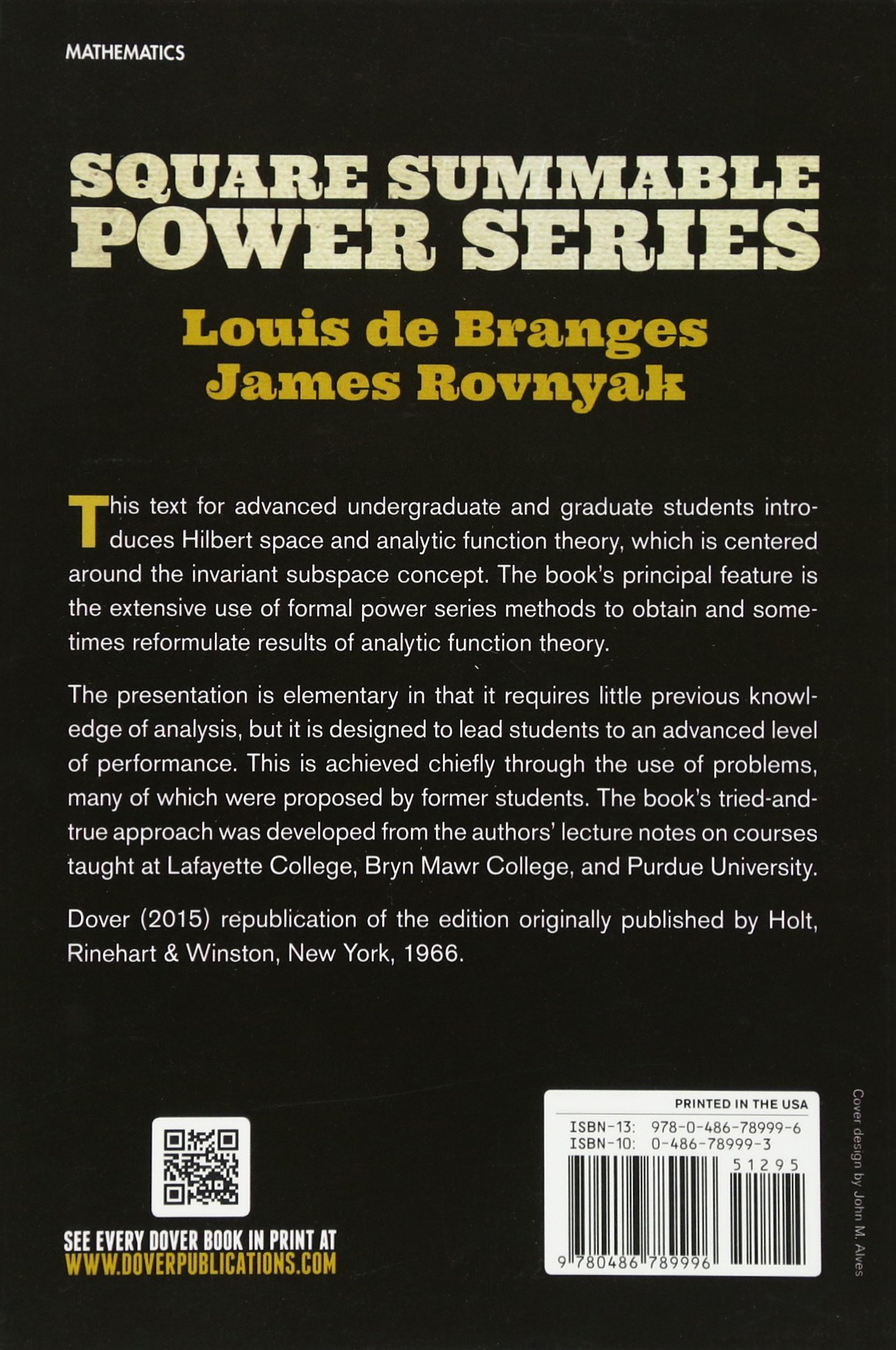 Square summable power series dover books on mathematics louis square summable power series dover books on mathematics louis de branges james rovnyak 9780486789996 amazon books fandeluxe Gallery