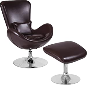 Flash Furniture Egg Series Brown LeatherSoft Side Reception Chair with Ottoman