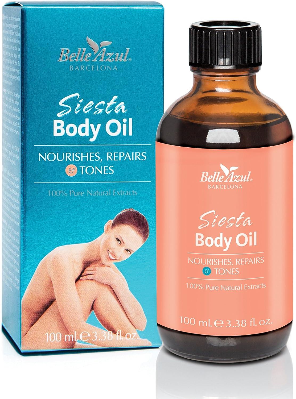 ACEITE CORPORAL SIESTA BODY OIL BELLE AZUL - Aceite corporal nutritivo y reafirmante - Natural - Con aceite de argán orgánico certificado por ECOCERT - Vegano / 100 ml.