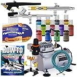 PointZero Professional Airbrush Cake Decorating Set - 12 Chefmaster Colors