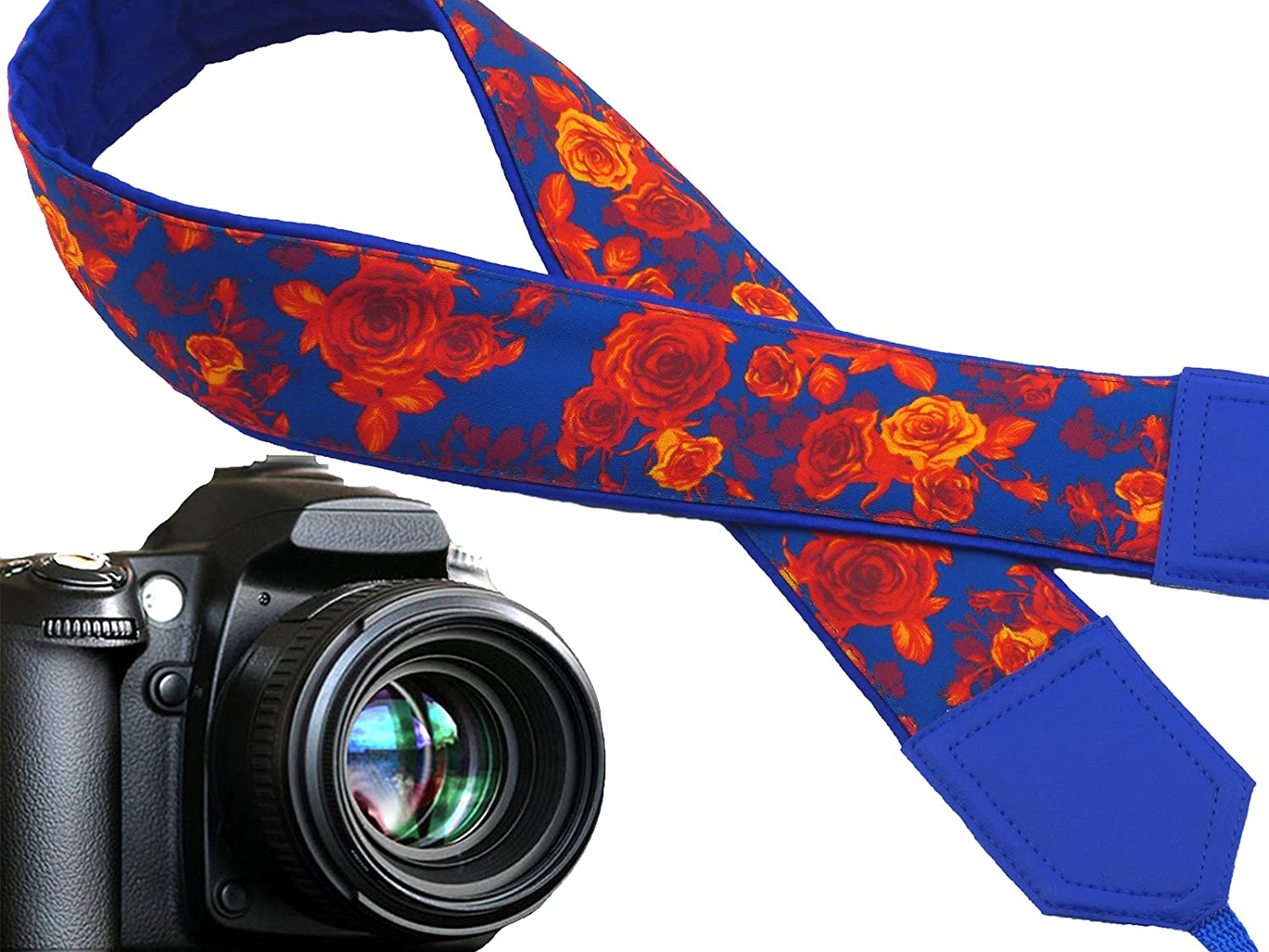 Code 00299 Blue Neck Strap Photography Accessories by InTePro Roses Camera Strap Blue and Orange Flowers DSLR Camera Strap