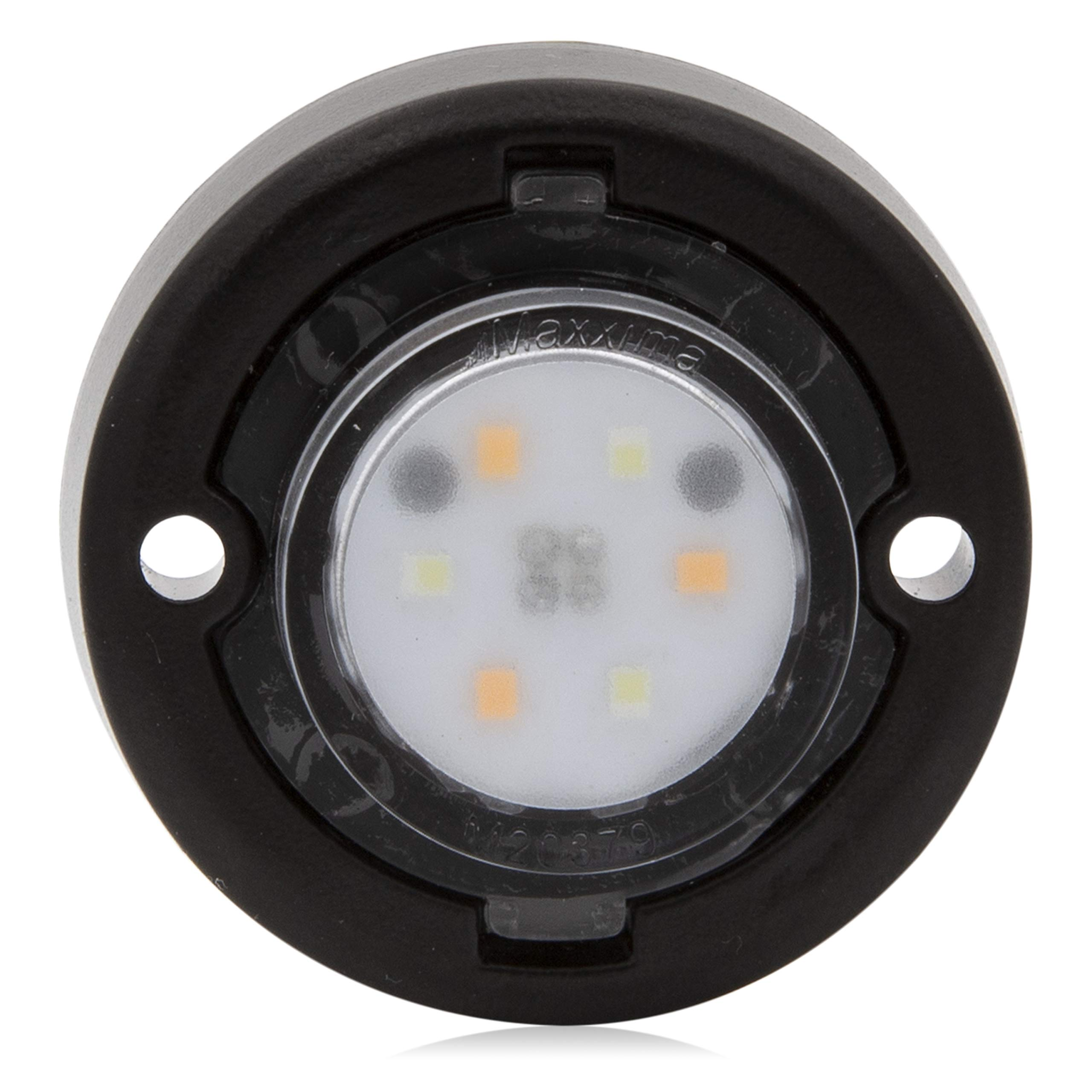 Maxxima M20382WYCL-DC 1.7'' Round Mini Dual Color Emergency Warning Light-White/Amber
