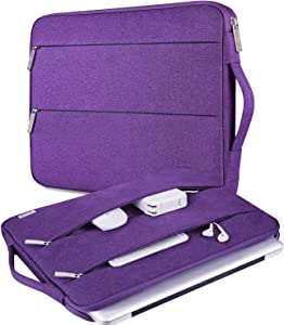 "V Voova 11 11.6 12 Inch Laptop Sleeve Bag with Pockets Water Resistant Computer Case Compatible for MacBook Air 11"" 12"",Asus,HP,Samsung,Ipad Pro 11 Chromebook Cover for Lady Woman,Violet"