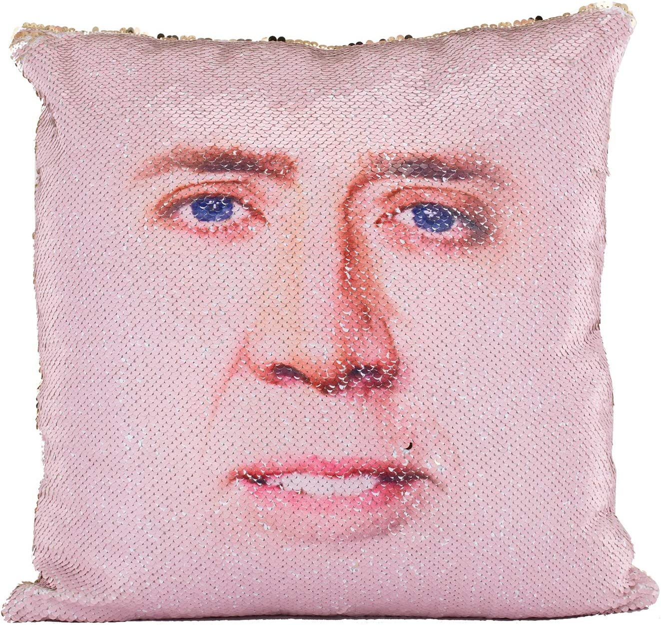 Ainik Mermaid Pillow Case Mermaid Pillow Cover Sequin Throw Pillow Case Decorative Color Change Cushion Cover Sofa Bedroom Car Kids 16 x 16 inches (1 Nicolas Cage Face-Red)