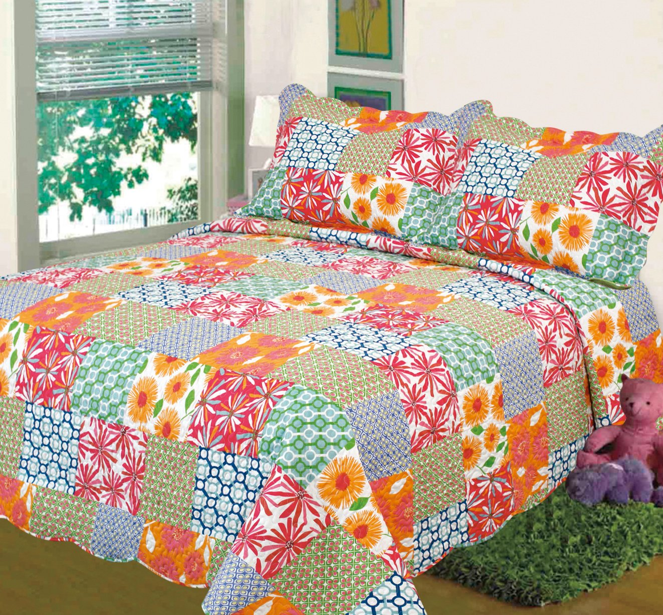 3pc Bedspread Floral Orange Red Green Blue King Size