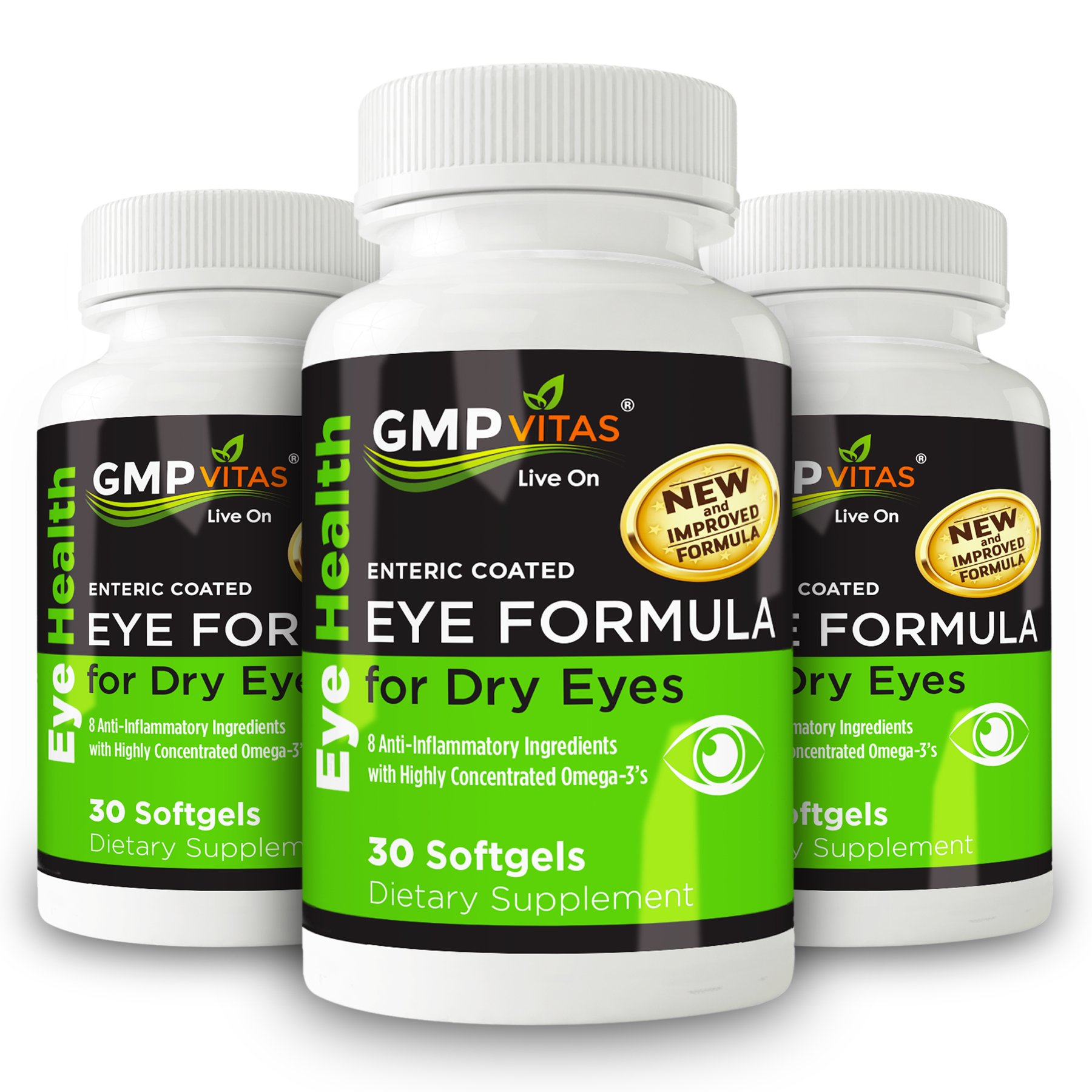 GMPVitas Enteric Coated Eye Formula- High Potency Omega-3 Supplement with Lutein, Astaxanthin Hyaluronic Acid, Vitamin C and E (3) by GMP Vitas (Image #1)