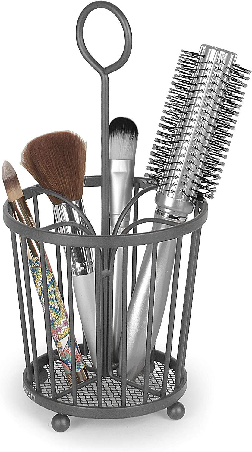 Takyl Home Metal Beauty Bathroom & Cosmetic Vanity Organizer Caddy & Accessory Storage Tote for Makeup, Blush, Eyeshadow, Bronzer, Brushes, Hair Care, Teasing Brush & Comb Holder, Dark Gray