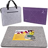 """Wool Pressing Mat for Quilting - Ideal Wool Ironing Pad for Quilters with Travel Bag & Bonus Cutting Mat - 14""""x17"""" 100% Wool"""