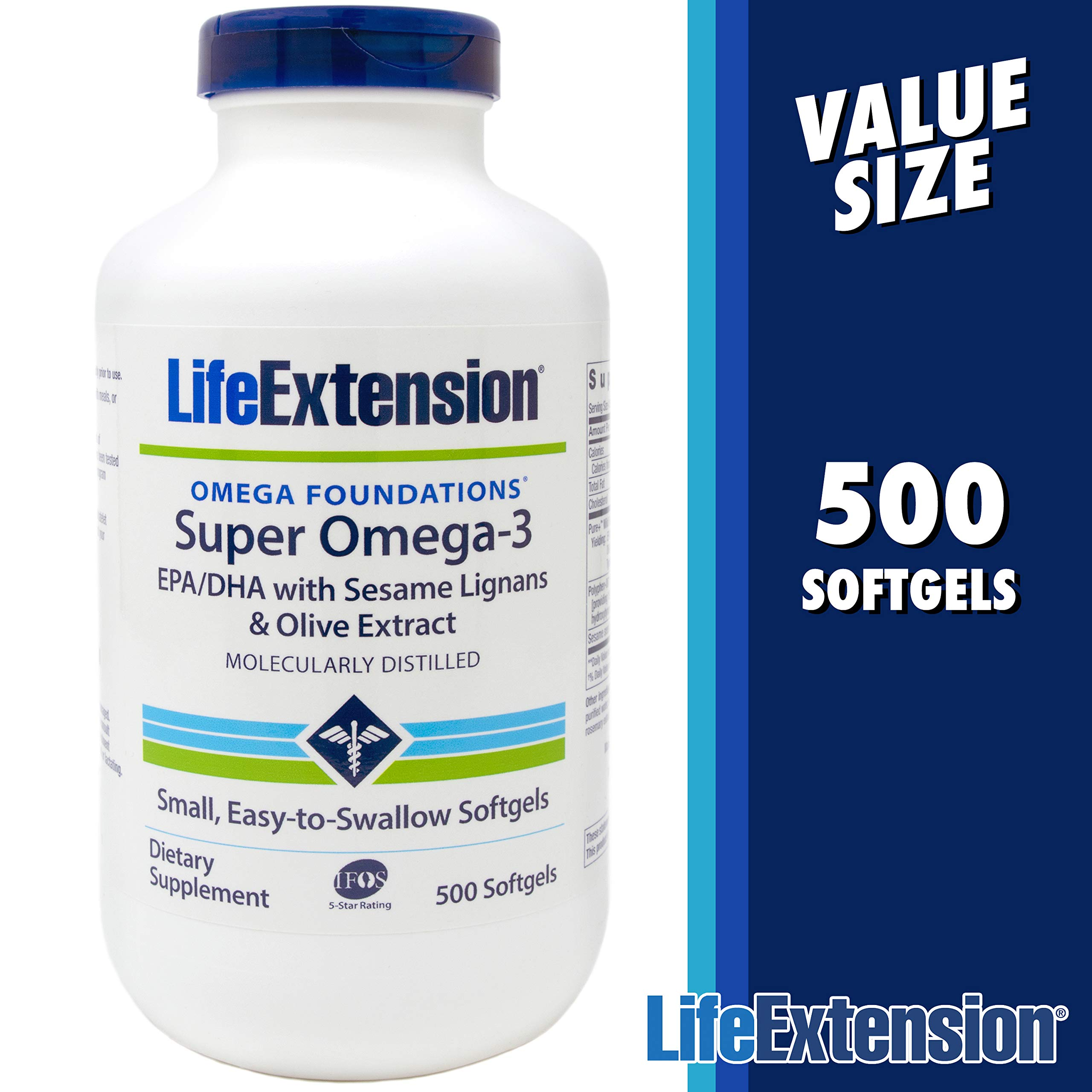 Life Extension Super Omega-3 Fish Oil - 500 Softgels - EPA/DHA with Sesame Lignans and Olive Extract by Life Extension