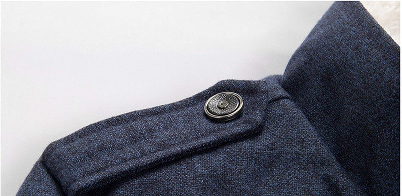 Bejoin Winter Men Coat Fashion Fleece Lined Thick Warm Woolen Overcoat,Grey,XXXL