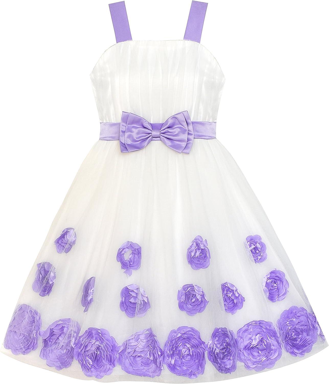 Sunboree Mädchen Kleid Blume Mädchen Kleid Lila Krawatte Festzug Hochzeit  Gr. 15-15