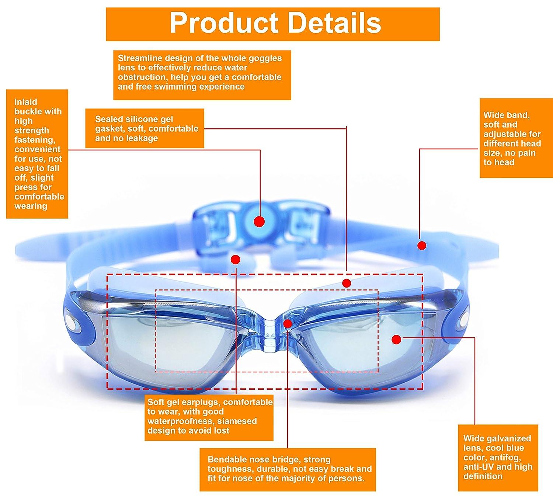 0 bis -800 Kurzsichtigkeit UV400 Anti-UV Anti Nebel Sehst/ärke Schutzbrille mit Abnehmbare Nasenbr/ücke f/ür Erwachsene M/änner Frauen Kinder Damen Hersvin Kurzsichtig Schwimmbrillen